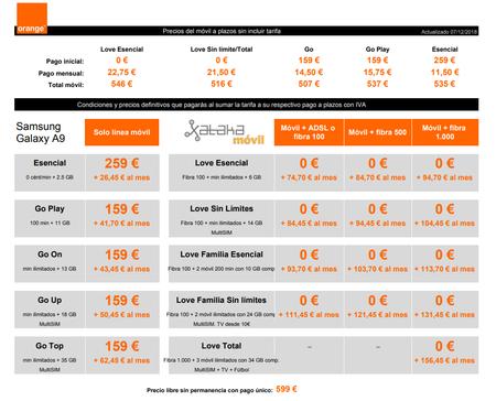 Precios Samsung Galaxy A9 Con Tarifas Orange