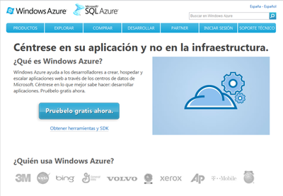 Windows Azure portal en Español