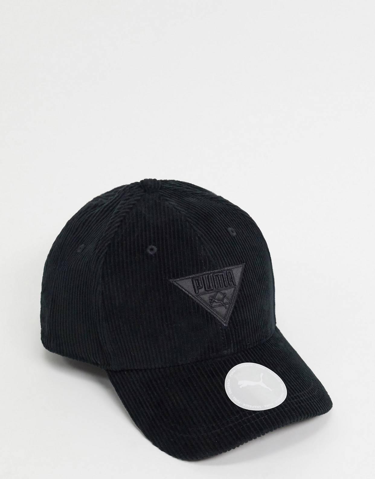 Gorra negra de pana Puma