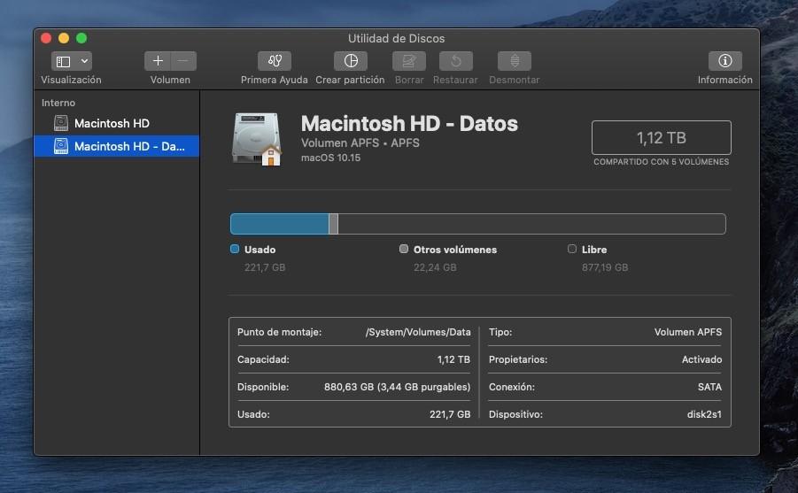 'Macintosh HD - Datos': qué es ese nuevo volumen que ha llegado en macOS Catalina