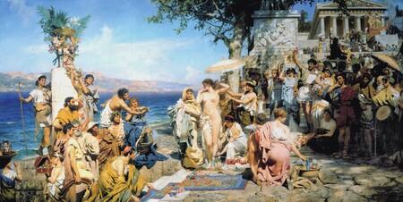 Friné en el Poseidonia en Eleusis, por Henryk Siemiradzki.