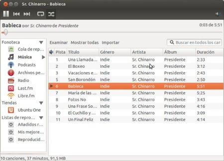 Reproducción de música en discos de red con Rhythmbox