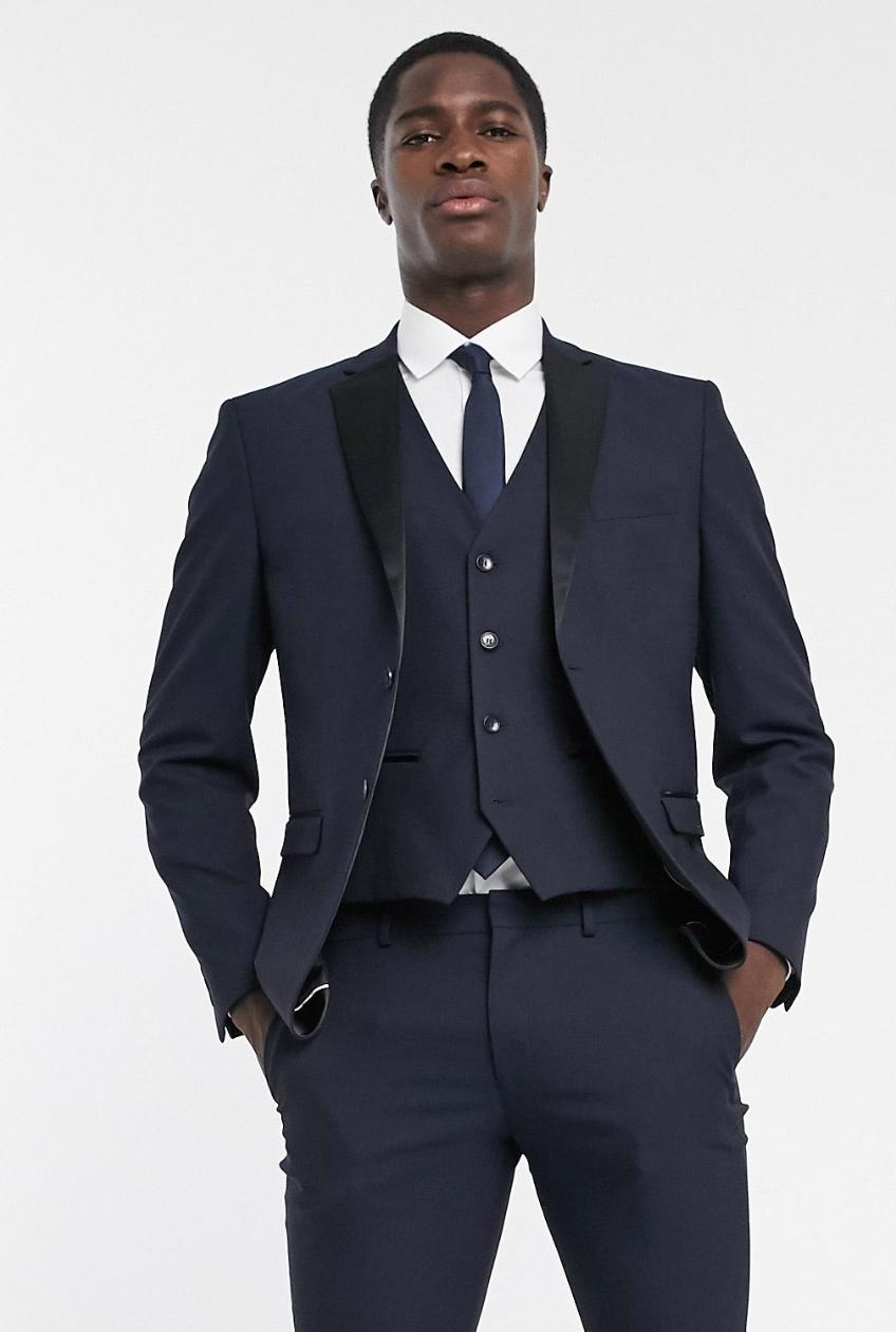 Chaqueta de traje estilo esmoquin de corte slim con solapa de satén en azul marino de Selected Homme