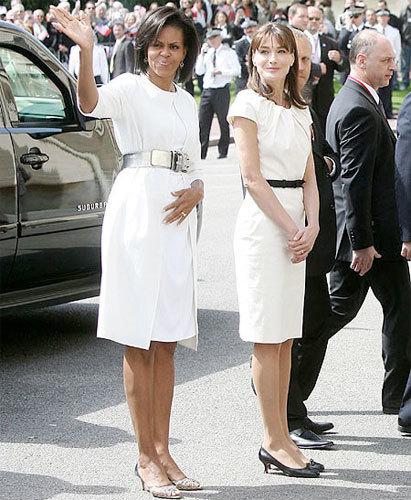 Carla Bruni y Michelle Obama, dos Primeras Damas de blanco