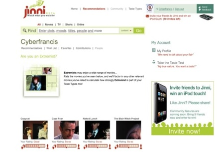 Jinni, sugerencias de cine y televisión personalizadas