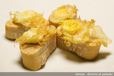 montadito de foie y huevo - presentación