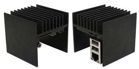 ODROID-U2, dos vistas del disipador de aluminio que hace las veces de caja