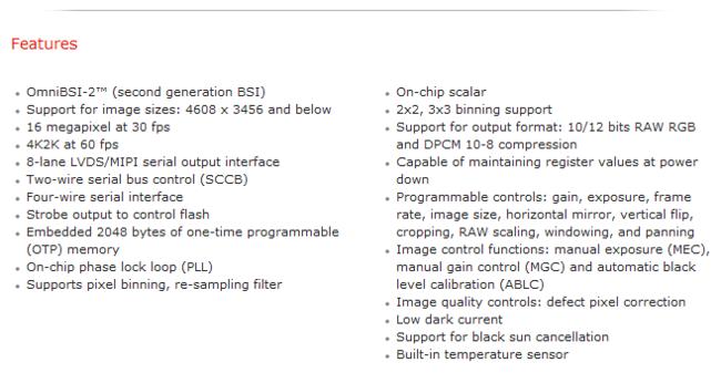 Especificaciones completas OmniVision 101814