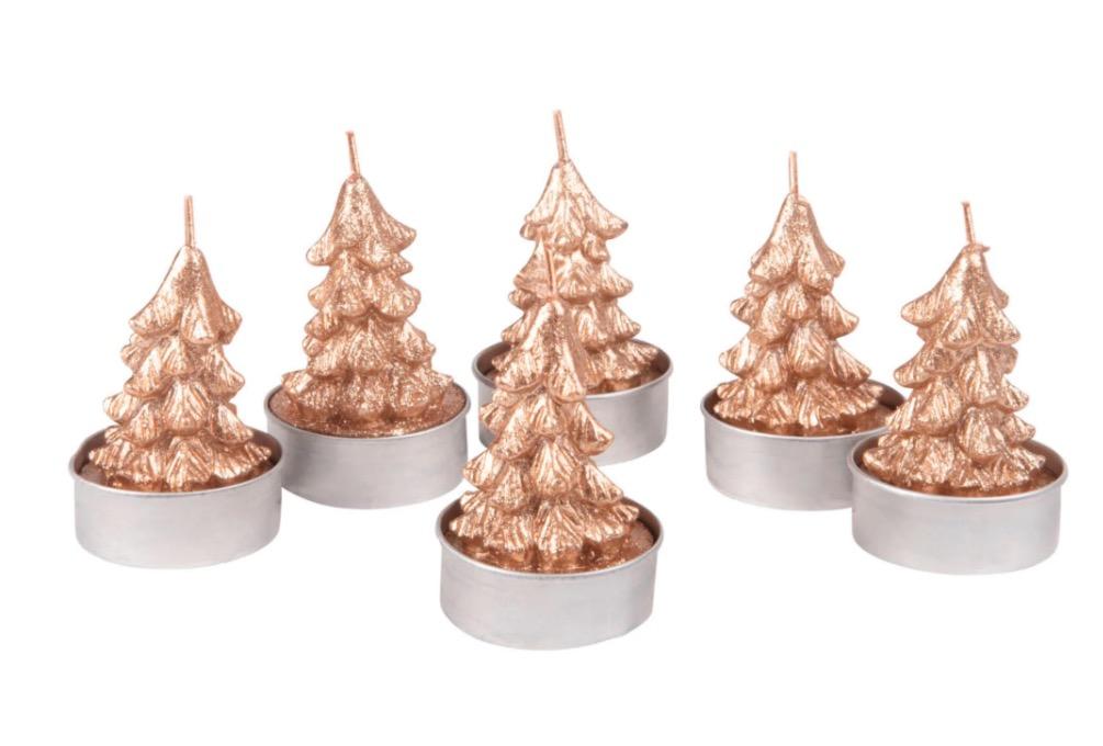 Velas de Navidad calientaplatos con árbol dorado (lote de 6)