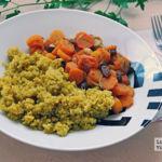 Quinoa aromática con zanahorias braseadas con frutos secos. Receta saludable