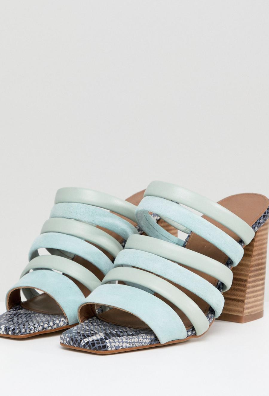 Sandalias de tacón de cuero Aster de ASOS WHITE