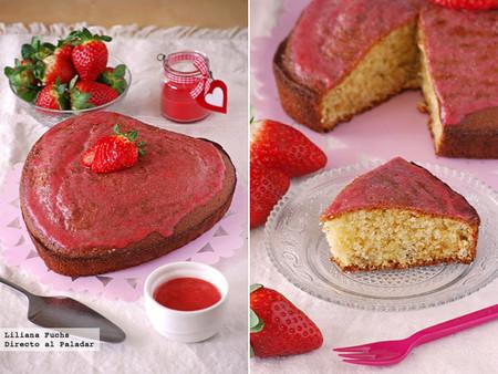 Cake de limón y lavanda con glaseado ligero de fresas. Receta de postre romántico