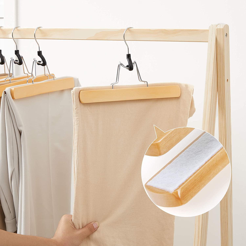 12 Perchas de Madera para pantalones y faldas