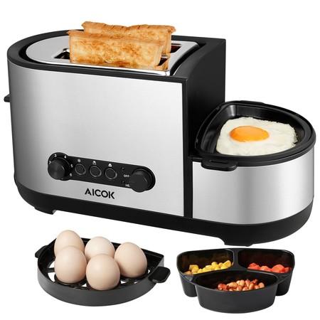 Cupón de descuento del 35% en la tostadora y cocedora de huevos 5 en 1 de Aicok: se queda en 32,49 euros en Amazon