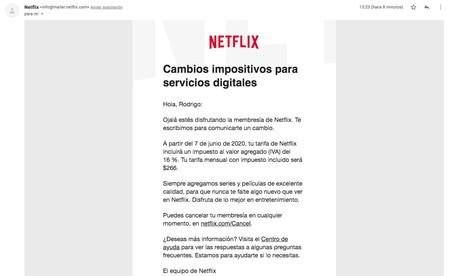 Correo Subida Precio Netflix Iva