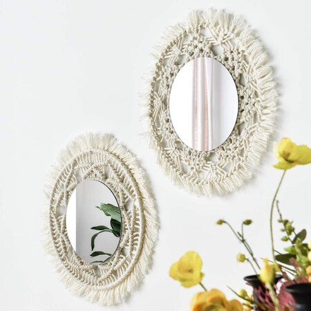 Espejo De Pared Con Diseno De Macrame 2 Piezas Hecho A Mano