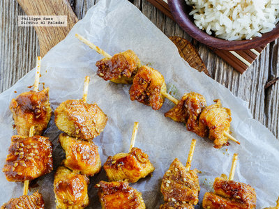 Brochetas de pollo estilo Satay. Receta para el picoteo