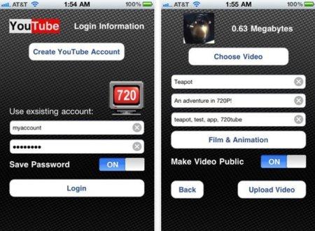720tube permite la subida a YouTube en 720p desde el iPhone4