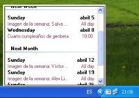 Google Calendar en tu escritorio con GMinder