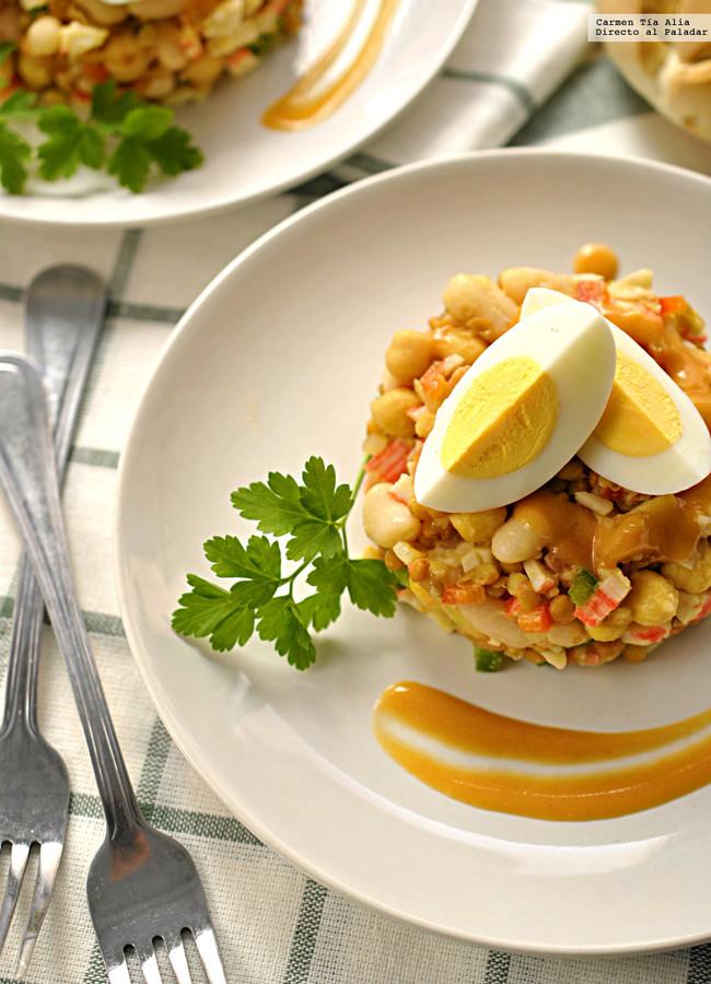 salpicón de legumbres con palitos de cangrejo