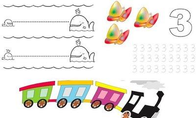 Fichas de actividades para niños: tres años