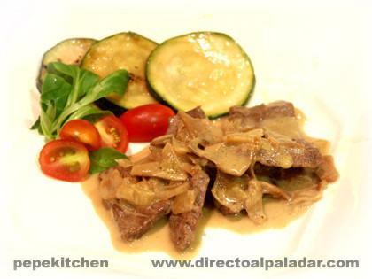 Receta de ternera salteada con salsa de porcini