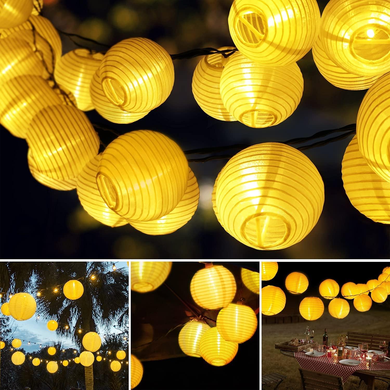 Farolillos Solares Exterior GolWof Guirnaldas Luces Exterior Solar 6M 30 LED Impermeable Guirnalda Solar Luces Solares para Exterior Jardin para Decoración Terraza Hogar Bodas Navidad - Blanco Cálido [Clase de eficiencia energética A]