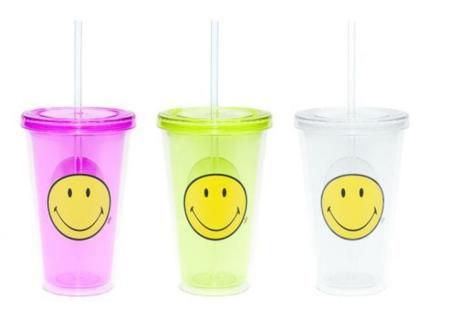 Divertidas botellas y vasos con pajita Smiley