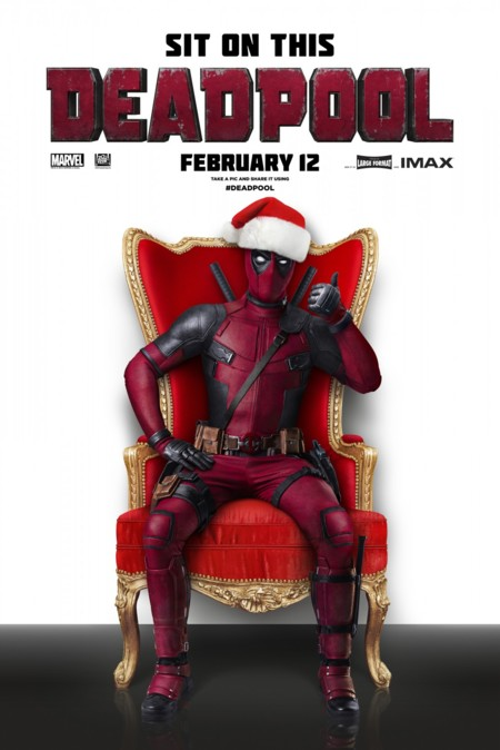 Cartel navideño de Deadpool