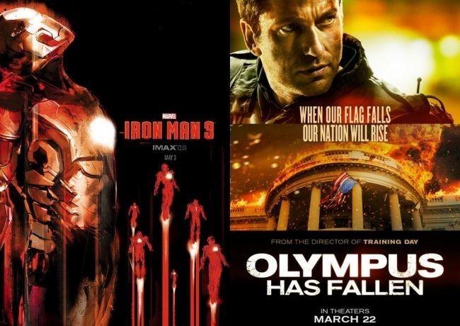 Carteles de Iron Man 3 y Objetivo La Casa Blanca