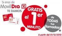 Promoción Navidad 2010 MóvilDía: Primer minuto gratis en todas las llamadas