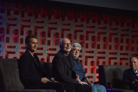 George Lucas Con Hayden Christensen y Ian Mcdiarmid