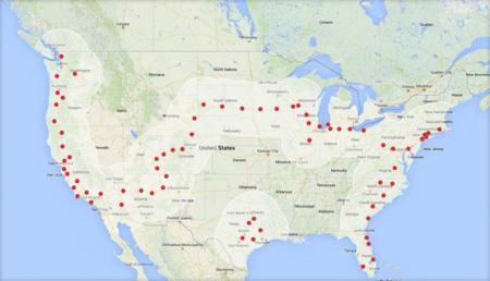 De Los Ángeles a Nueva York en un Tesla Model S pasando por la casilla de recarga rápida