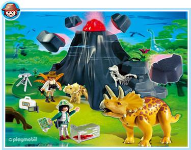 Triceratops con volcán de Playmobil