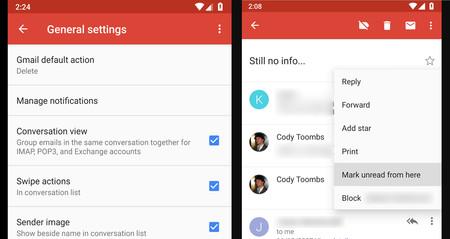 La app de Gmail prepara gestos personalizables al estilo Inbox