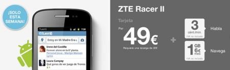 ZTE Racer II con Android en Tuenti por 69 euros y 20 de saldo incluido