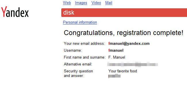 Yandex.Disk fin del proceso de registro