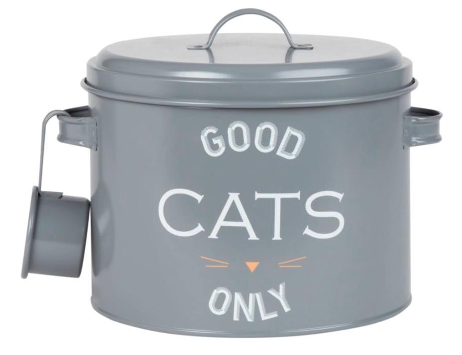 Recipiente para comida de gatos de metal gris con estampado y cucharón