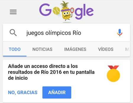 Puedes añadir un acceso directo a la cobertura de los JJOO gracias a Google Search