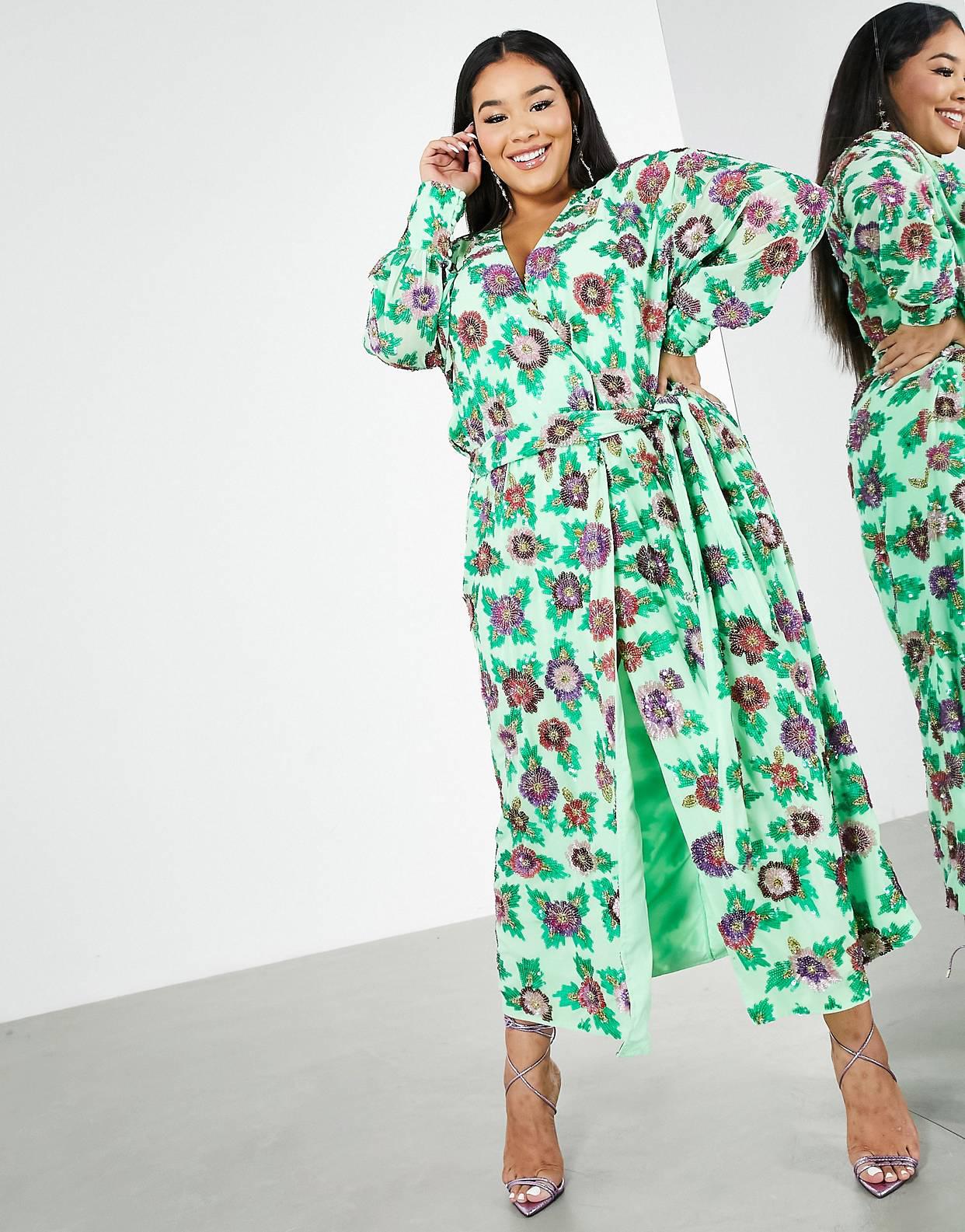 Vestido midi verde con estampado floral y diseño cruzado de lentejuelas de ASOS EDITION Curve