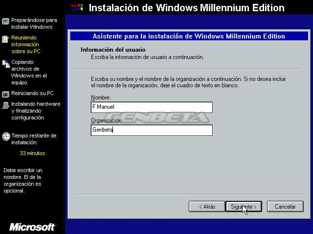 Foto de programa de instalación de Windows ME (4/4)