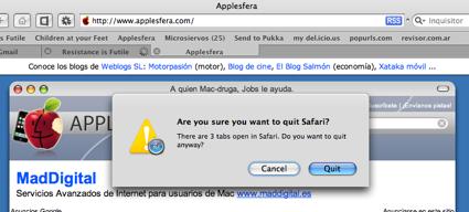 Truco: Quitar la confirmación de salida en Safari 3