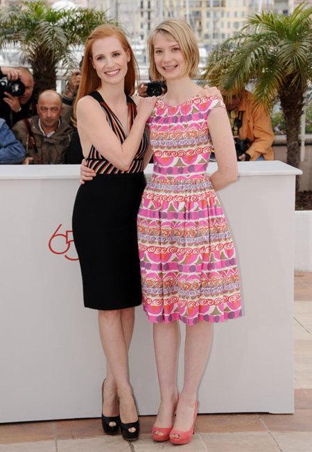 Mia Wasikowska y Jessica Chastain en el Festival de Cannes 2012