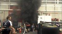 Se incendia el box de Williams tras el GP de España