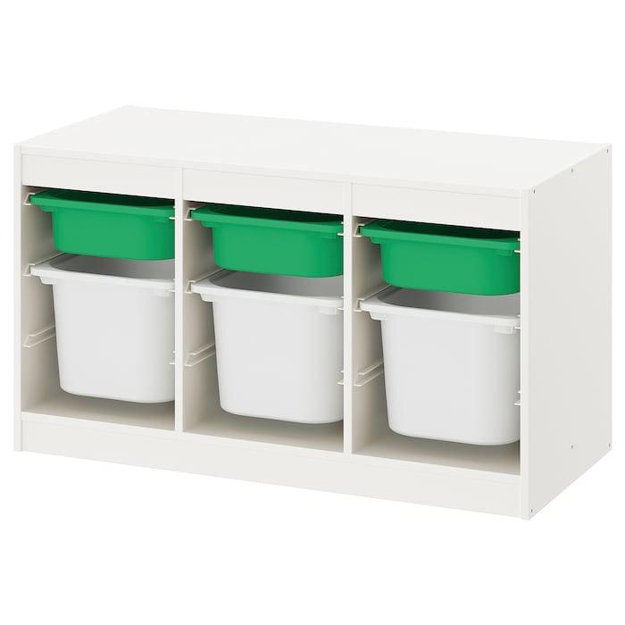 Combinación de almacenaje con cajas en blanco y verde