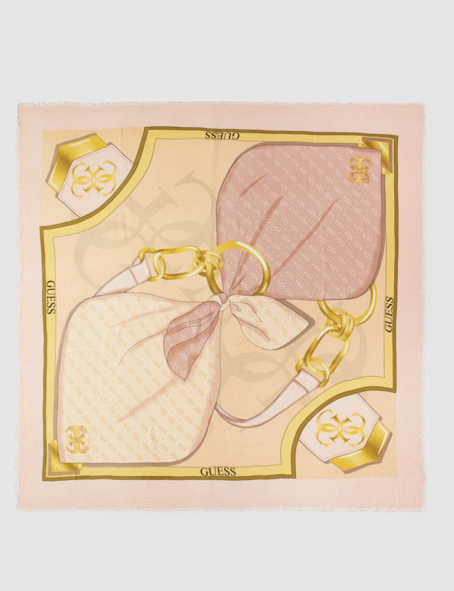 Pañuelo Guess en rosa con estampado de la marca