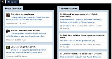 Nueva página de usuario en VidaExtra