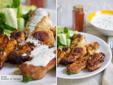 Alitas de pollo picantes con pimentón de la Vera y salsa de queso azul. Receta