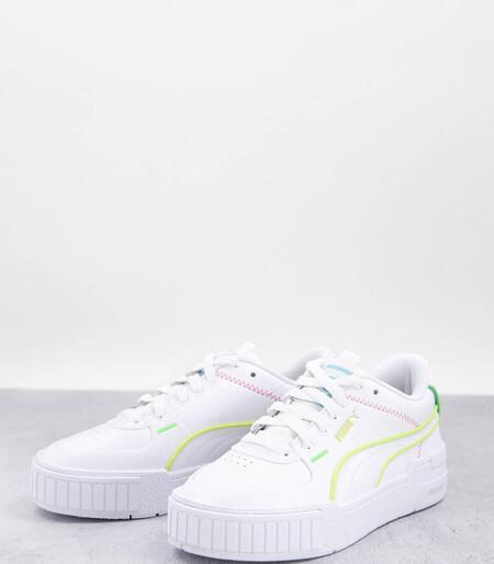 Zapatillas De Deporte Blancas Con Ribetes Multicolores Neon Cali Sport Exclusivas En Asos De Puma