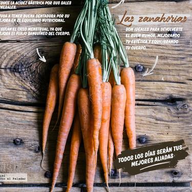 Las zanahorias, las verduras del buen humor. Infografía